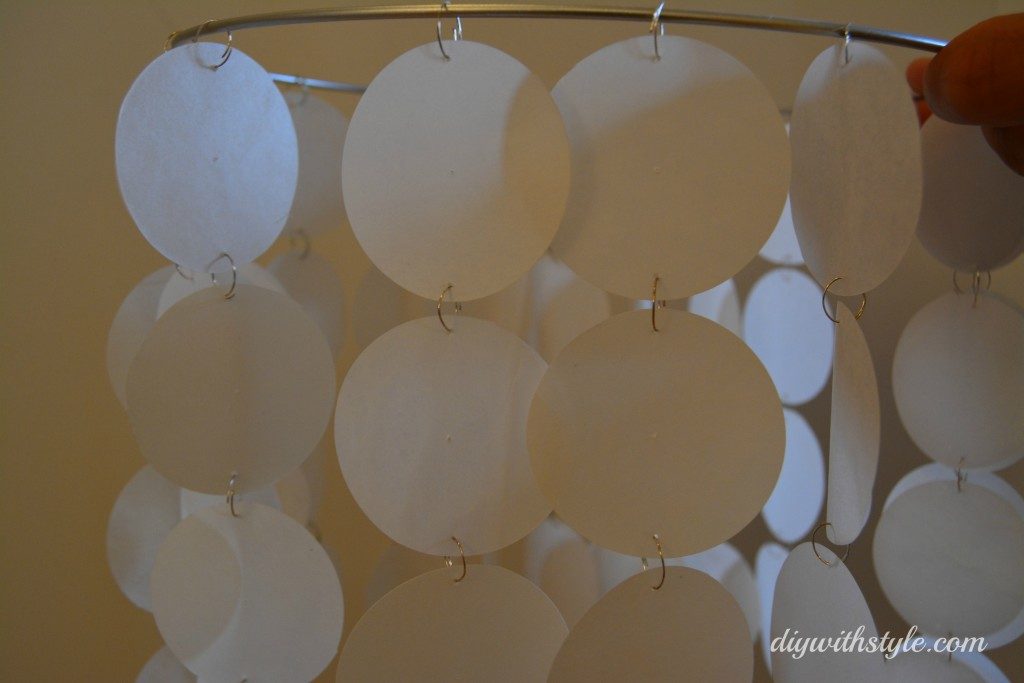 DIY Faux Capiz chandelier - attach