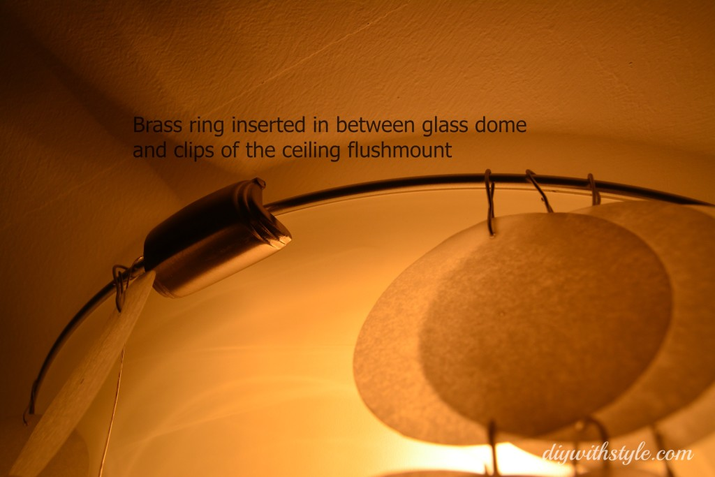 DIY Faux Capiz light - place large ring into flushmount clips