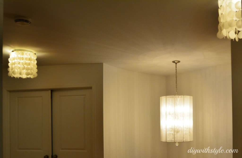 DIY flushmount faux capiz shell chandelier of wax paper