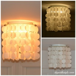 DIY wax paper faux capiz shell chandelier