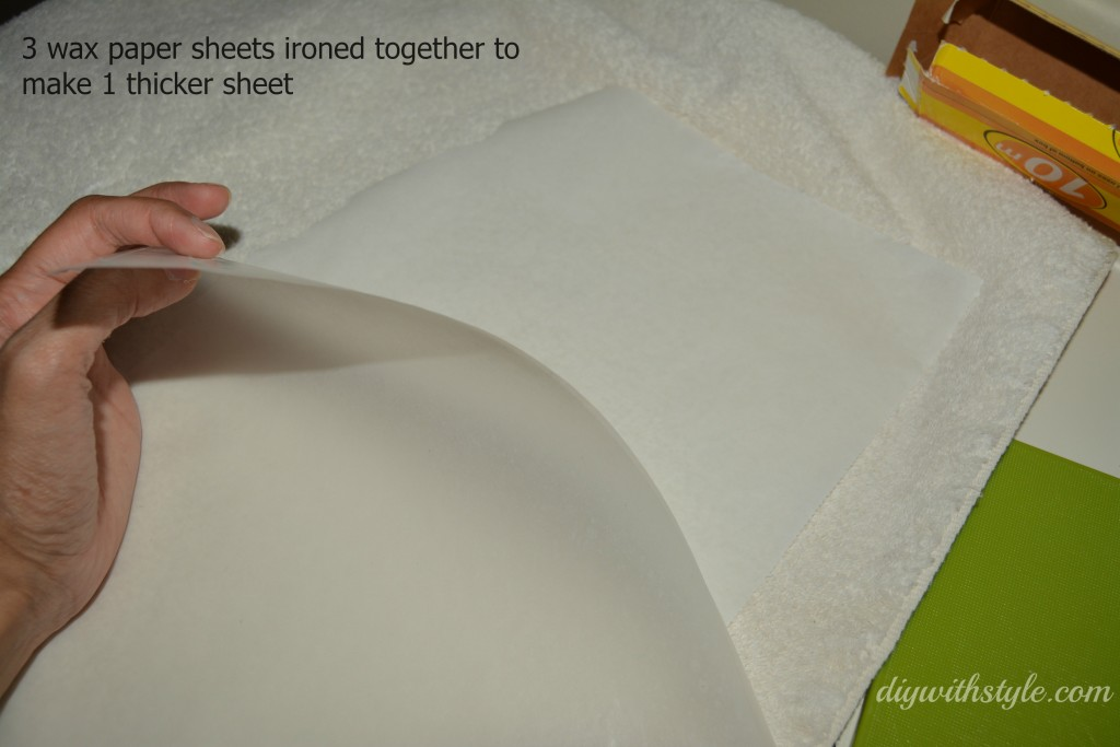 Iron 3 wax paper sheets